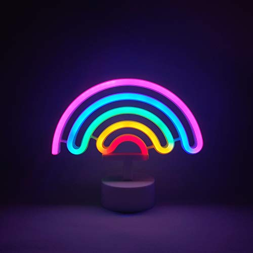 Neon Signs Rainbow Indoor Night Light, LoveNite Battery/USB Operated Glowing Neon Decorative Sign LED Light for Room Party Festival Decorations (Multi-Colored, Rainbow)]()