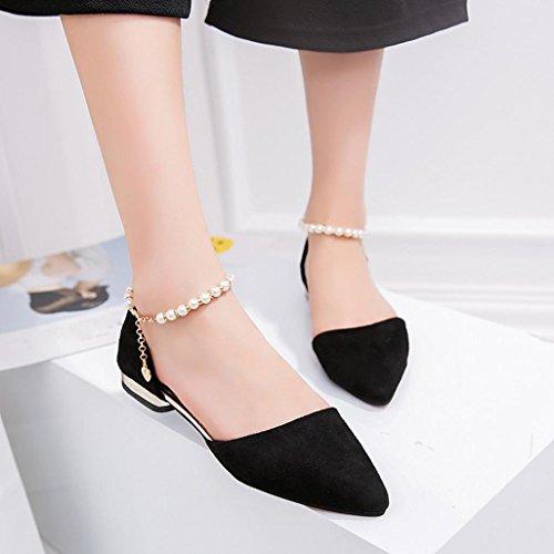 Schwarz Sandalen Party Mode Perlen niedrighackigen Schuhe Förderung Knöchel Spitz Casual Große Frauen SANFASHION Cwn7gcqRH