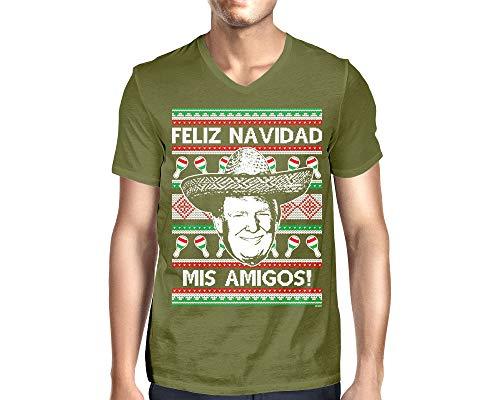 Men's Trump Feliz Navidad Mis Amigos V-Neck T-Shirt (Olive, XX-Large)