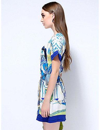 PU&PU Robe Aux femmes Gaine Simple,Imprimé Col Arrondi Au dessus du genou Polyester , blue-m , blue-m