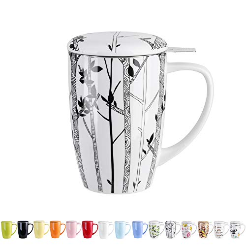 LOVECASA Taza de Te con Filtro Acero Inoxidable y Tapa, Mug Tisana de Porcelana 450 ML, Arboles