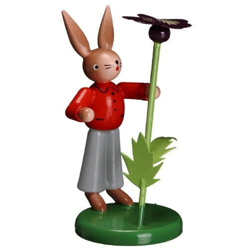 Zeidler Bunny Man With Pansy Hand Made in Germany
