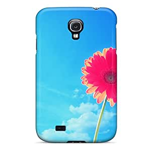 Flexible Tpu Back Case Cover For Galaxy S4 - Pink Gerbera Flower