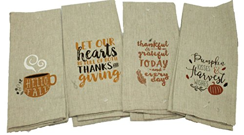 Set Of 4 Dark Linen Thanksgiving Kitchen Towels Gift Set   Fall Kitchen  Towel Set