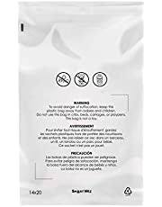 Clear Poly Bags, with Suffocation Warning, Permanent Self Seal, Thick Plastic, for Shipping, Packaging and Mailing Merchandise, Apparel, Single Size