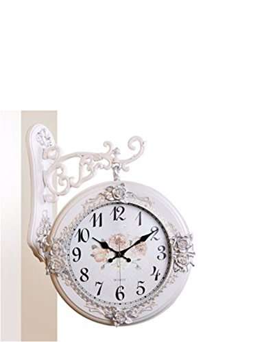 SUNQIAN-European style double hanging clocks, the living room on both sides of the clock, American retro hanging clocks, watches mute hanging garden,A by SUNQIAN