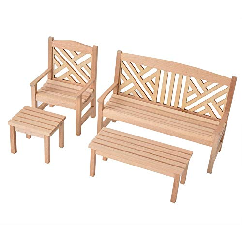 Zerodis 4PCS Wooden Doll House Furniture Garden Chair Stool, 1:12 Scale Wood Color Dollhouse Miniature Table Chairs Furniture Set for Above 2 Years (Garden Furniture Exclusive Wooden)