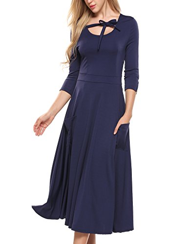 Casual Navy ACEVOG Midi Loose Pockets Sleeve Blue Flare 4 Women's Dress Swing Long 3 f6qSx70w6