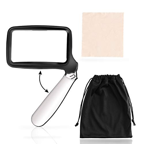 Magnifying Glass with Light Magnifier with Light, Folding Handle, 2X Rectangular Magnifier Lens, 5 LED Lighted Magnifying Glass Handheld Magnifying Glass for Reading Seniors, Kids, Low Vision by YCTEC