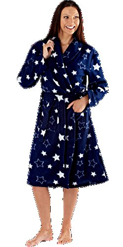 Damas Forro polar Bata Albornoz Envuelva Spad Regalo Luz extrasuave NAVY STARS