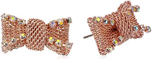 Gold Tone Mesh Bow (Betsey Johnson Women's Rose Gold Crystal Mesh Stud Earrings)