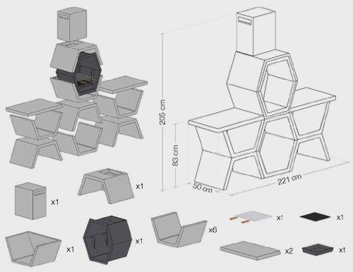 Hogar Decora Barbacoa Liber 05 máximo diseño y calidad. De hormigón bruto hidrófugo blanco y negro: Amazon.es: Hogar