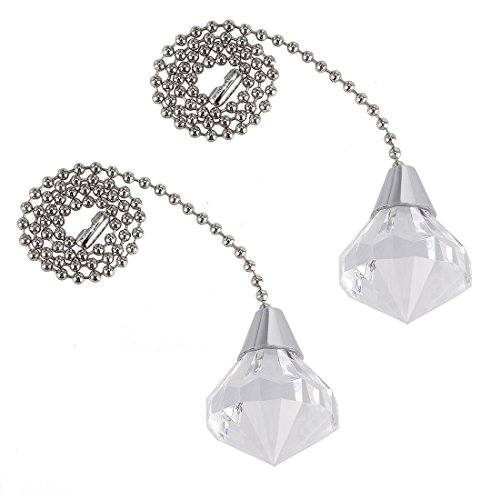 uxcell 12 inch Brushed Nickel Pull Chain Acrylic Clear Diamond Pendant for Ceiling Light Pack of 2 ()