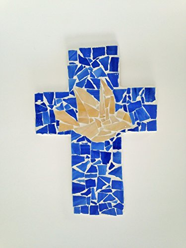 Dove Cross Stained Glass (Mosaic Wall Cross Blue or Red Ombre, Dove, 9 inch X 6 inch Handcrafted, Wall Cross)