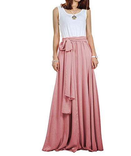 CoutureBridal Women Chiffon Maxi Skirt Long Elastic Pleated Formal Wedding with Bow Blush