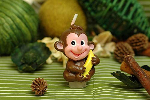 Monkey Cartoon birthday Candle, Smokeless Cake candle and Party Supplies, Hand-made Cake Topper Decoration, Great Gift ()