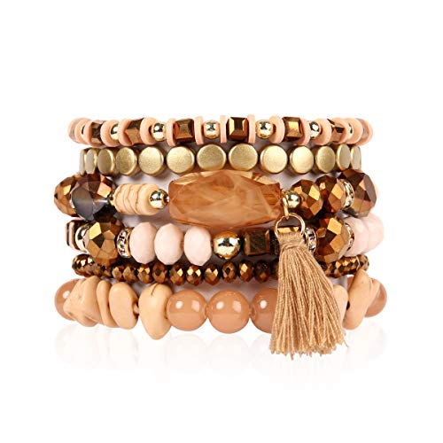 RIAH FASHION Bead Multi Layer Versatile Statement Bracelets - Stackable Beaded Strand Stretch Bangles Sparkly Crystal, Tassel Charm (Coin Bead/Tassel - Brown) (Brown Stretch Bracelet Beaded)