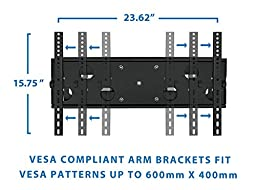 "Mount-It! Articulating TV Wall Mount for 32"" – 65"" LCD/LED/Plasma Flat Screen TVs, Full Motion, 165 Lbs Capacity, Black (MI-2291)"