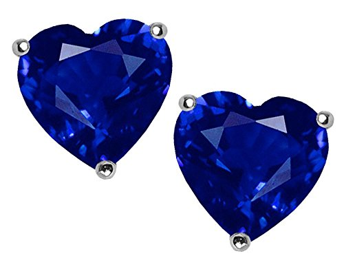 7mm Heart Created Sapphire Earring Studs in .925 Sterling Silver (Womens Blue Star Sapphire Rings)
