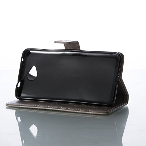 Funda Microsoft Nokia Lumia 650 OuDu Carcasa de Billetera Funda PU Cuero Carcasa Suave Protectora con Correas de Teléfono Funda Arbol Flip Wallet Case Cover Bumper Carcasa Flexible Ligero Ultra Delgad Gris-Plata