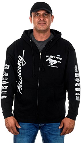 Price comparison product image Mens Ford Mustang Hoodies with Exclusive American Flag Sticker (Large,  CLG2-black)