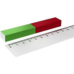 STAB MAGNET 12 x 150 mm FÜR EXPERIMENTE SCHULMAGNET ROT GRÜN FELDLINIEN SCHULE