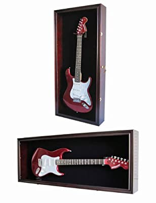 Guitar Display Case Cabinet Wall Hanger for Fender or Electric Guitars w/Uv Protection- Lockable, Mahogany Finish (GTAR2 (BL)-MA)