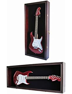 Guitar Display Case Cabinet Wall Hanger For Fender Or Electric Guitars W/  Uv Protection