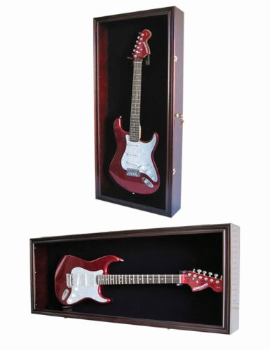 Guitar Display Case Cabinet Wall Hanger for Fender or Electric Guitars w/Uv Protection- Lockable (Mahogany Finish)
