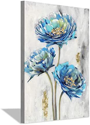 Abstract Floral Canvas Wall Art: Flower Artwork Hand Painted Picture Painting