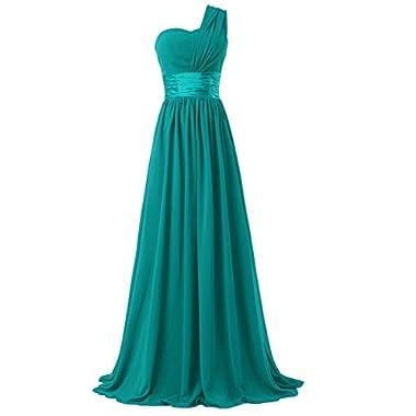 Time Dresses Women's Chiffon One Shoulder Bridesmaids Dresses (3XL, Lake Green)