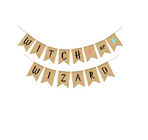 Halloween Banner Witch or Wizard Letter Bunting Banner Sign Garland for Halloween Home Party Decoration -