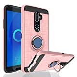Ayoo for:Alcatel 3V Case, Alcatel 5099A case with HD Screen Protector, 360 Degree Rotating Ring Magnetic Stand Fishnet Full Bodystocking Dual Layer Shock-Absorption for Alcatel 3V-ZK Rose Gold