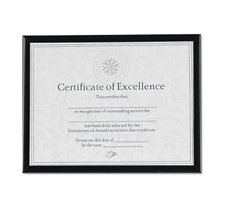 Value U-Channel Document Frame w/Certificates, 8-1/2 x 11, Black, Sold as 1 Each - Value U-channel Easel