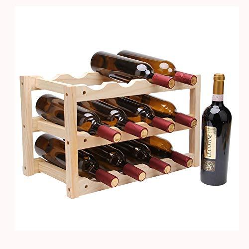 FJZ Wine Rack Solid Wood Wine Rack Wooden Wine Rack Wine Rack European Style Simple Wine Rack Living Room Home Solid Wood 12 Bottles Primary Color Multi-Function Wine Rack by FJZ