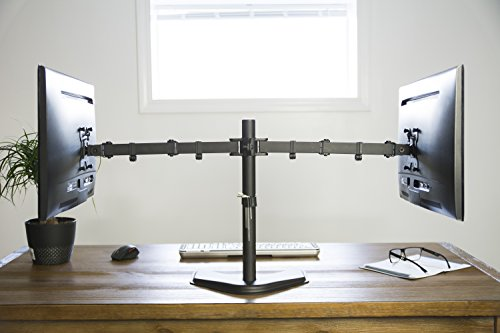 """VIVO Dual LCD Monitor Free Standing Desk Mount with Optional Bolt-through Grommet / Stand Heavy Duty Fully Adjustable fits Two Screens up to 27"""" (STAND-V002F)"""