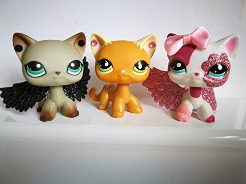 LPS Shorthair Cats 391 2291 525 Pack of 3 Siamese Lot Kitty Set Kitten with Accessories Wings Stick on Earring Collection Toy Figure Girls Boys Gift