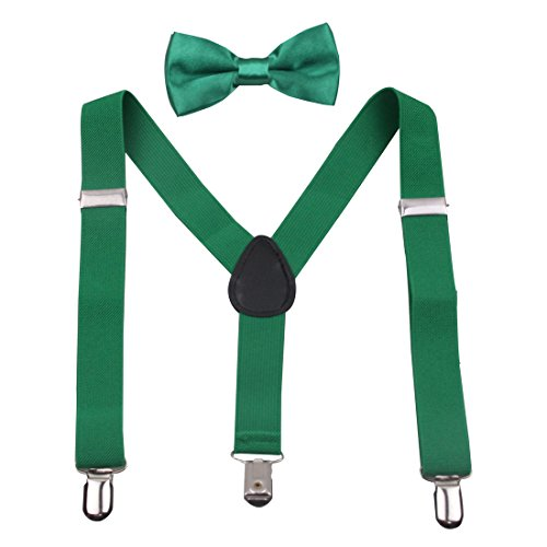 GUCHOL Kids Suspenders Bowtie Set - Adjustable Length Christmas Clothing Accessories for Boys and Girls (Green)