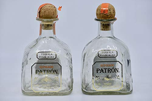Patron Reposado Tequila Bottles (Empty) w/Corks - Great Glass Decanters - Collectible