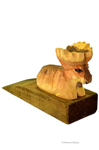 American Chateau Hand Carved & Painted Vintage Wood Moose Door Wedge Stop Stopper Cottage Decor