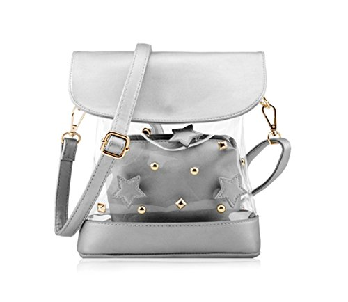 Uttus Clear Transparent Tote Shoulders Bag Satchel Rivet Beach Handbag (Silver)