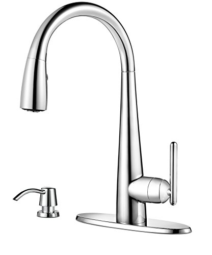 (Pfister GT529-SMC Lita Single Handle Pull-Down Kitchen Faucet with Soap Dispenser, Polished Chrome)