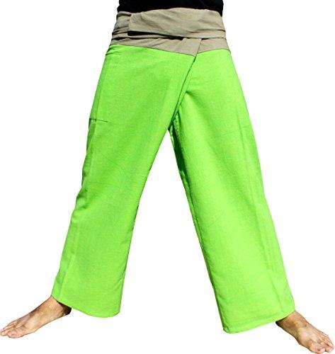 (Raan Pah Muang Brand Thick Cotton Two Tone Thailand Fisherman Pants, X-Large, Kiwi Green-Grey)