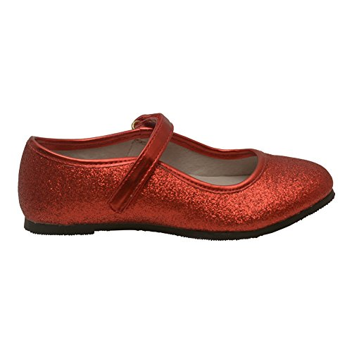 Angel Girls Red Hook and Loop Ankle Strap Glitter Flats 11 Kids