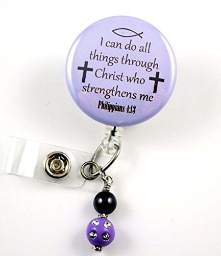 I Can Do All Things Through Christ Purple Mylar - Nurse Badge Reel - Retractable ID Badge Holder - Nurse Badge - Badge Clip - Badge Reels - Pediatric - RN - Name Badge Holder