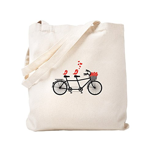 CafePress - Tandem Bicycle With Cute Love Birds, Vector Tote B - Natural Canvas Tote Bag, Cloth Shopping Bag (Tote Bicycle)