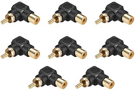 uxcell RCAオス-メスコネクタ 90度 ステレオオーディオビデオケーブルアダプターカプラー 8個