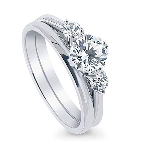 BERRICLE Rhodium Plated Sterling Silver 3-Stone Anniversary Engagement Wedding Ring Set Made with Swarovski Zirconia Octagon Sun Cut 1.47 CTW Size 8