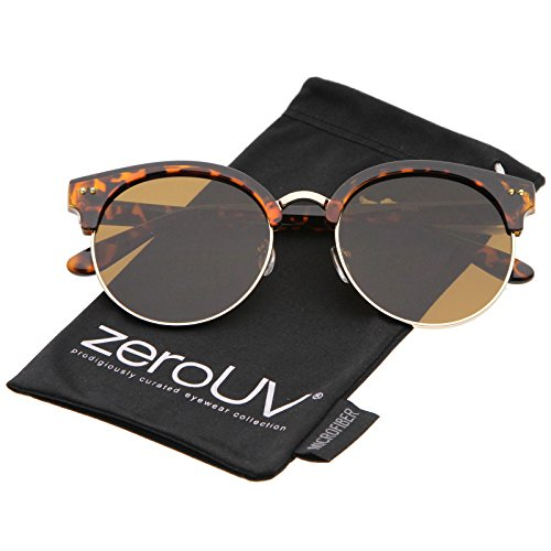 zeroUV - Women's Oversize Half Frame Color Mirror Flat Lens Round Sunglasses 55mm (Tortoise-Gold / - Sunglasses Round Half Frame