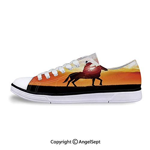 Sneakers for Ladies a Horse During Vibrant Sunset Low Top Canvas Shoes